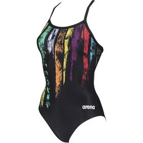 arena Team Painted Stripes Drop Back Traje Baño Una Pieza Mujer, negro/Multicolor
